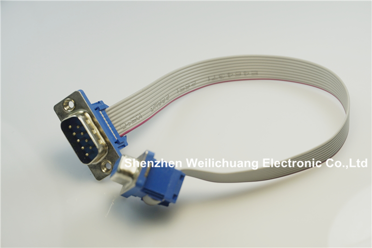 100 pcs d-sub Connecteur IDC Type 9 Broches mâle à Femelle l'assemblée 9 conducteur Gris Câble Plat UL2651 28 AWG 25 cm Longueur