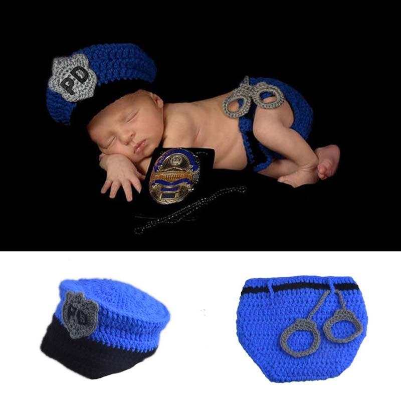Nou Hot Vanzare Nou-nascut Poliție Design fotografie Fotografie Props Copii Toddler costum Costum Handmade croșetat Hat Set de scutece H230