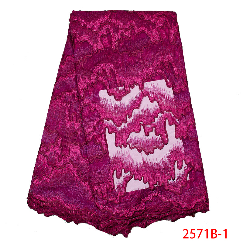 Nigerian Lace Fabric 2019 High Quality Tulle African Laces Fabric Emboridery French Lace With Sequins For Party Dress KS2571B-1
