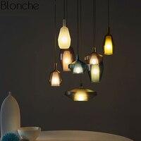 Nordic пятнистости Стекло бутылка подвесные светильники светодио дный Hanglamp Лофт Промышленные лампы для Гостиная Кухня Home Decor светильники