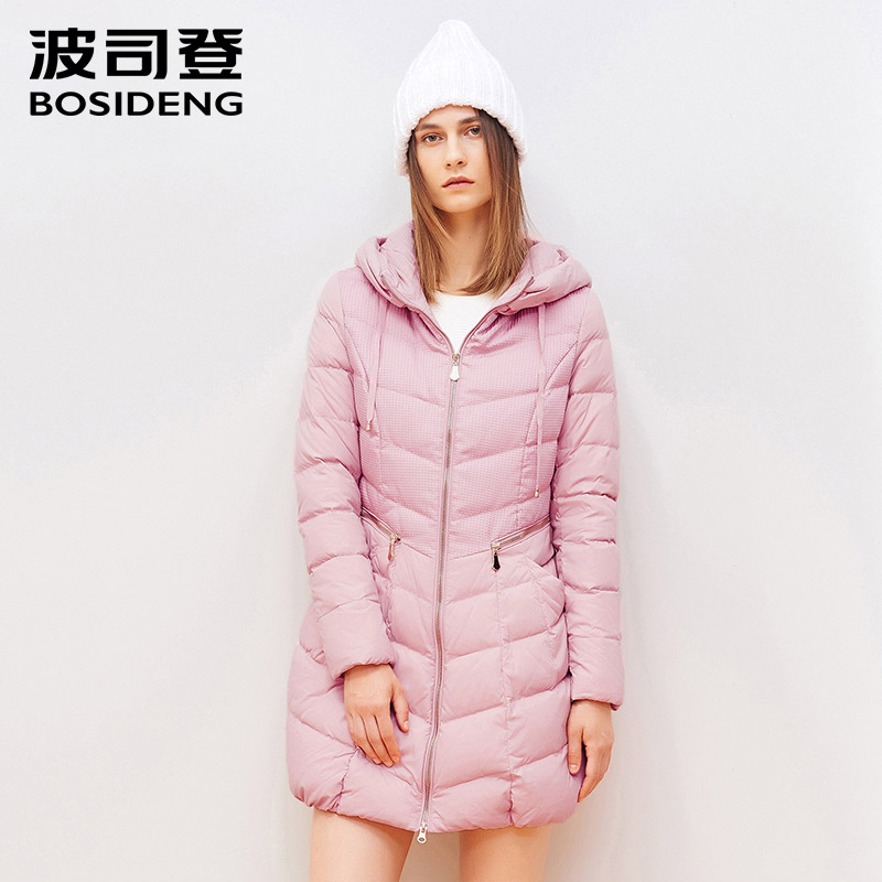 BOSIDENG winter thick   down     coat   women long   down     coat   female outwear zipper pocket hoodie high quality pure snow white B1501102