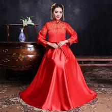 8eca9e1de Rojo chino tradicional Vestido de novia 2018 nuevo bordado flor mujer Long  Cheongsam Qipao Vestido Oriental vestidos de estilo