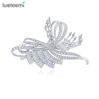 LUOTEEMI Brand New Atmosphere Butterfly Shape Fair Accessories Micro Paved CZ White Gold Plated Jewelry For