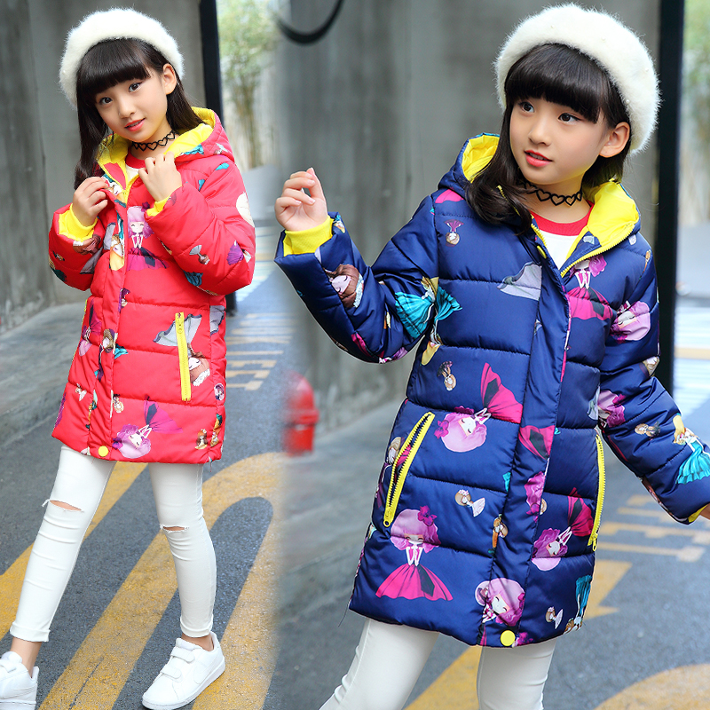 Thicker Snowsuit Jackets For Children Long Coats Fashion Winter Warm Outerwear Clothing Girls Down Coats 2017 New Arrivals Wear fashion girl thicken snowsuit winter jackets for girls children down coats outerwear warm hooded clothes big kids clothing gh236