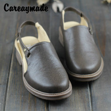 Careaymade-2019 summer new style of literature and art fan piping with sandals female retro manual casual Rome shoes