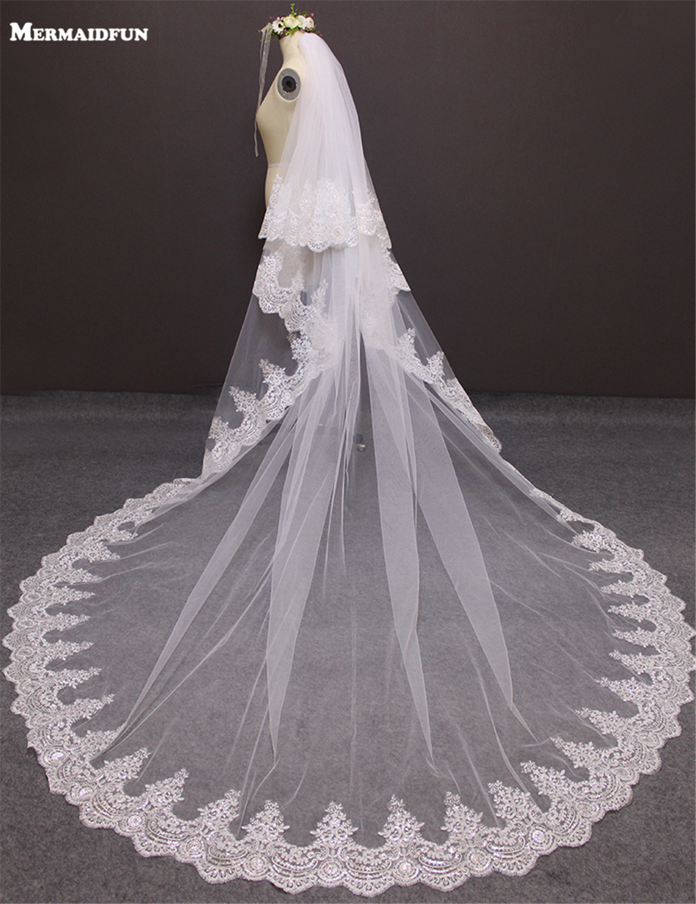 3 Meters Two Layers Full Edge With Sequins Blings Sparkling Lace  Luxury Long Wedding Veils White Ivory Bridal Veil