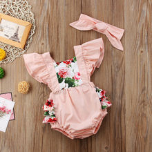 Cute Baby Girls Sleeveless Flower Romper
