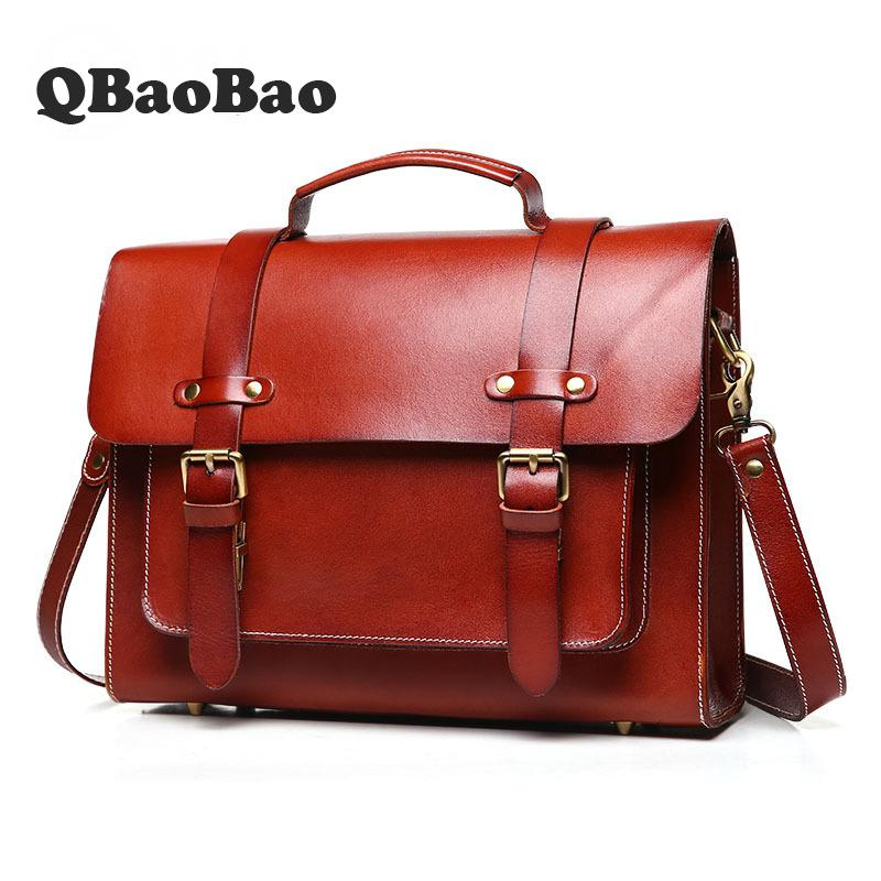 New Leather Retro Briefcase Unisex Fashion Handbag Business Document Leather Briefcases Men Shoulder Messenger Men Bag