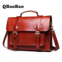 New Leather Retro Briefcase Unisex Fashion Handbag Business Document Leather Briefcases Men Shoulder Messenger Men Bag