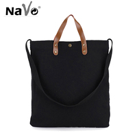 NAVO Canvas Tote Bags for Women Eco Shopping Bag Shopper Casual Beach Handbag Black Brown Solid Canvas Bags 2019 bolsa de lona
