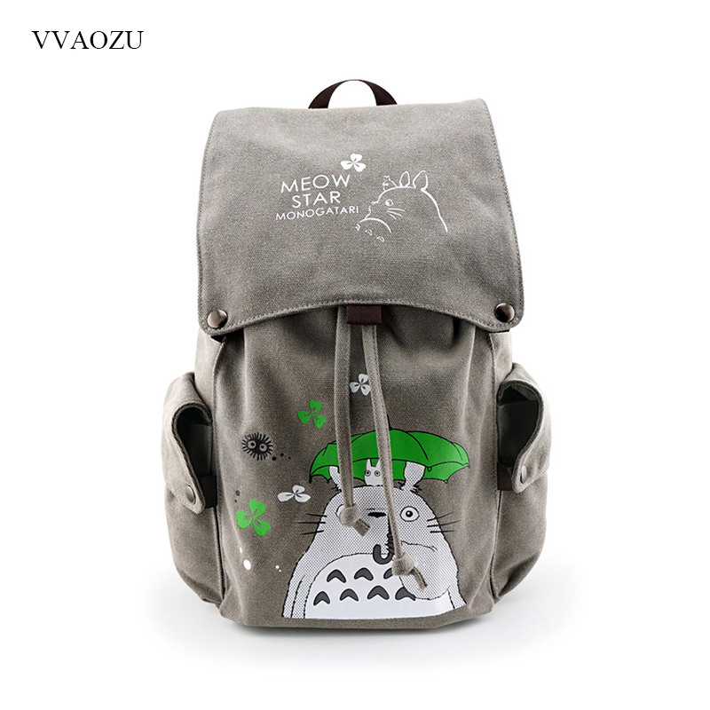 Totoro Canvas Backpack Travel Schoolbag Sword Art Online Attack on Titan Large Rucksack Shoulder School Bag Mochila Escolar