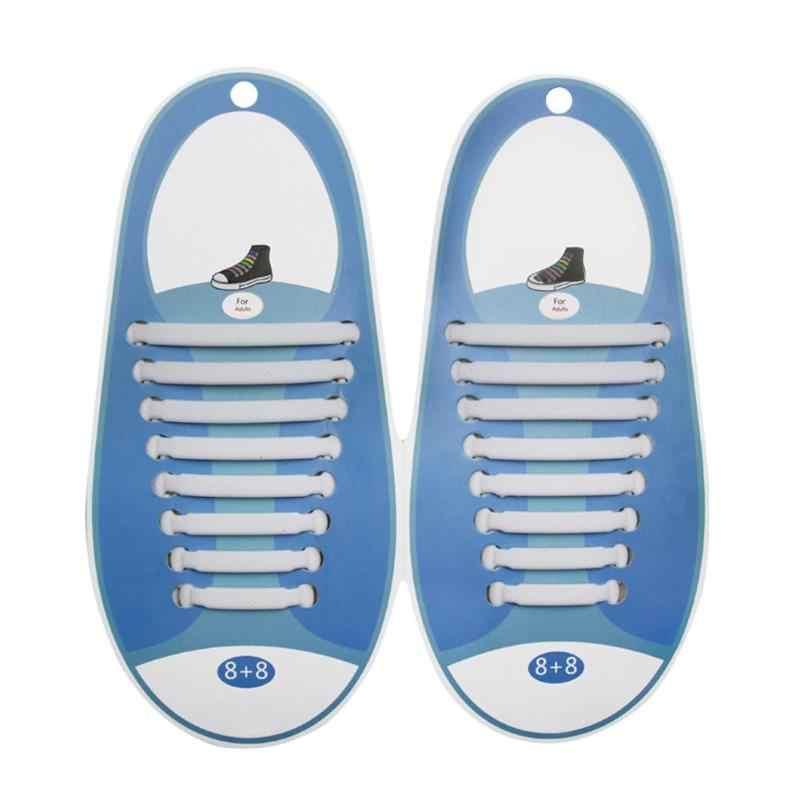 8 คู่/เซ็ตซิลิโคนเด็กยืดหยุ่นยืดหยุ่นรองเท้า String สีทึบทำงาน No Tie Shoelaces สำหรับเด็กผู้ใหญ่