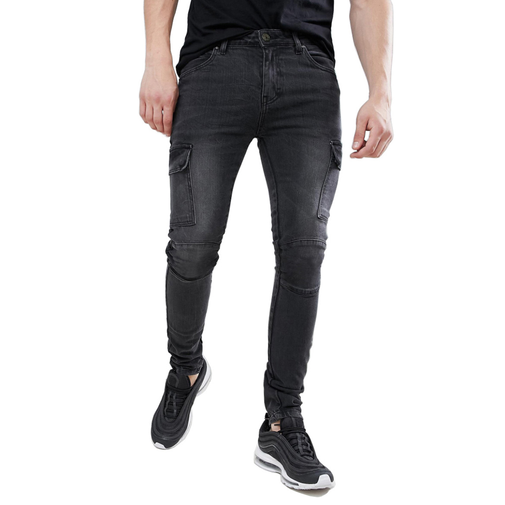 Men Skinny Cargo Biker Jeans Design Fashion Casual Jeans H1219