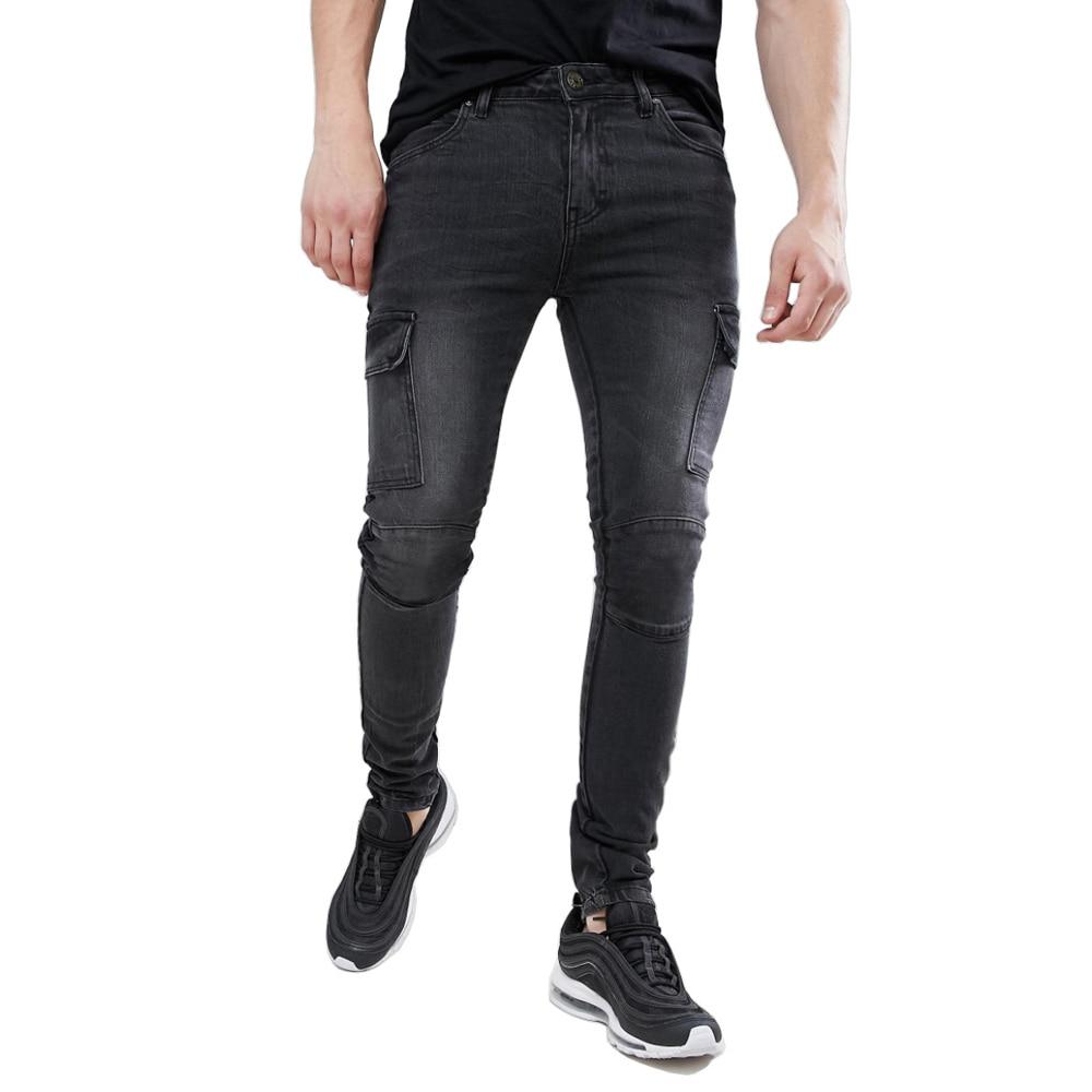 Men Skinny Cargo Biker Jeans Design Fashion Casual Jeans H1219
