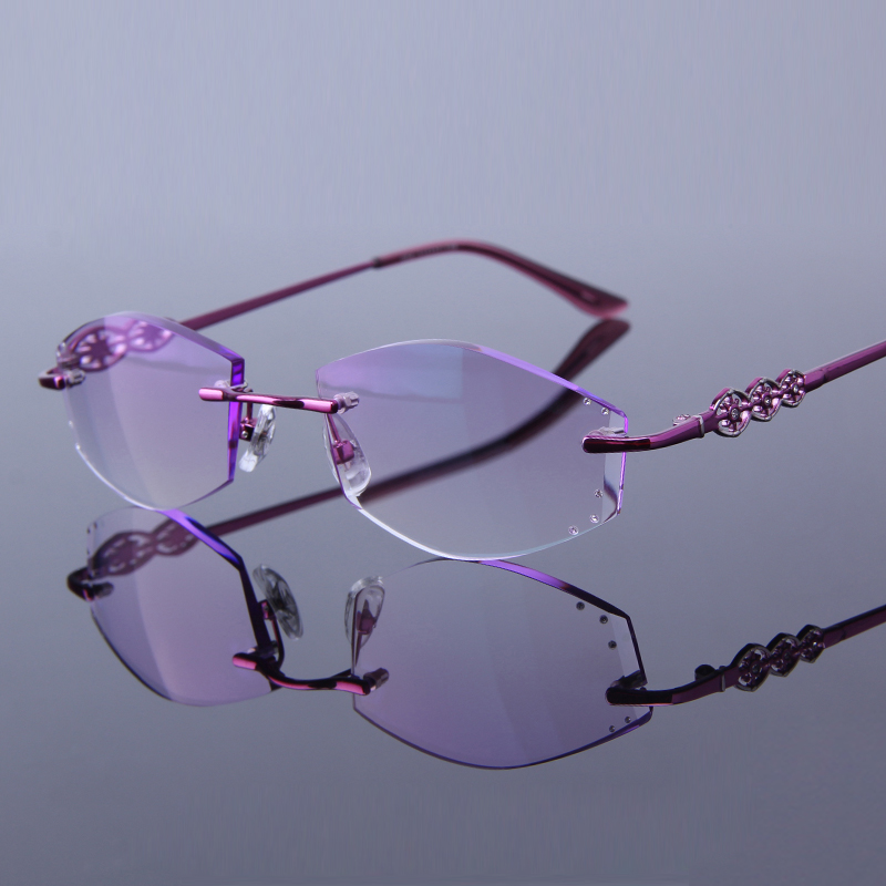 0e504c39f97 Excellent Quality Women Rimless Glasses Reading For Female Eyeglasses  Rhinestone Readers Anti Reflective Lenses Presbyopic 054
