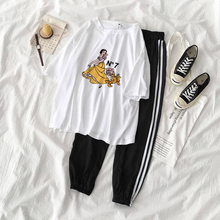 Tracksuit Letter Cartoon Leopard Print Women Set Outfit Fashion Sexy Two Pieces Suits Casual Overalls Jumpsuits Workout Clothing