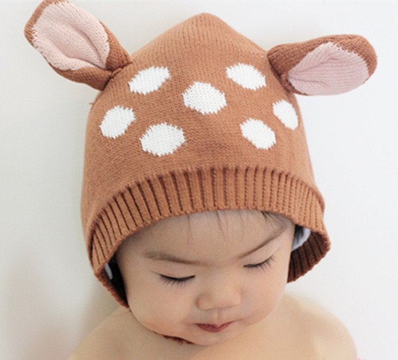 0 5T Baby Autumn Winter Caps Cartoon Crochet hat kids Boys Girl s Lovely  cotton Deer Hats Knitted Headgear Warm Cap -in Hats   Caps from Mother    Kids on ... ae206ac2056
