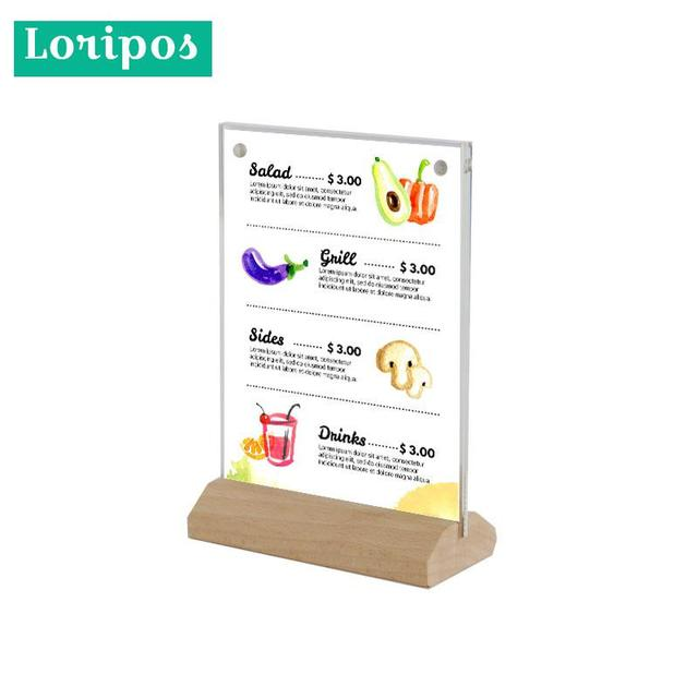 A6 Vertical Wooden Menu Card Stand Acrylic Poster Photo Picture Frame 10x15cm Acrylic Price Tag Display Rack Table Label Holder
