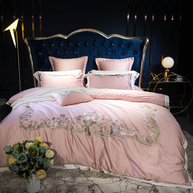 New 4/7Pcs Egyptian cotton bedding set queen king size bed set embroidery duvet cover bed sheet set pillowcase for gift
