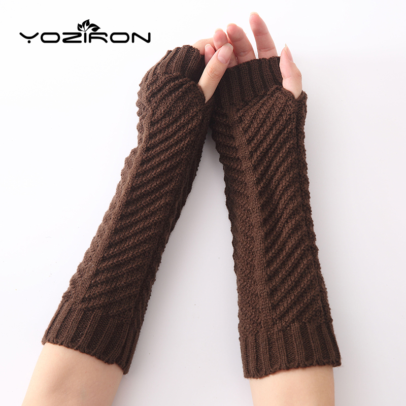 YOZIRON New Fashion Fish-shaped Women Knit Arm Warmers Winter Knitted Long Sleeves Gloves For Woman Girls Fingerless Gloves
