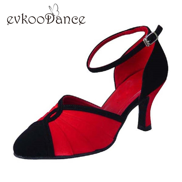 Comfortable Red Satin Red PU Gold Satin Silver Satin Heel Height 7cm  Zapatos De Baile Ballroom Salsa Dance Woman Shoes NB011 90a736edc790