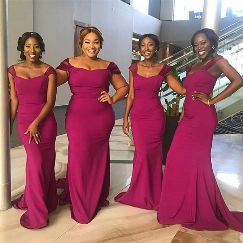 2019 African   Bridesmaid     Dresses   Floor Length Elastic Satin Mermaid Cheap Wedding Party Gowns Hot Selling Maid Of Honor   Dress