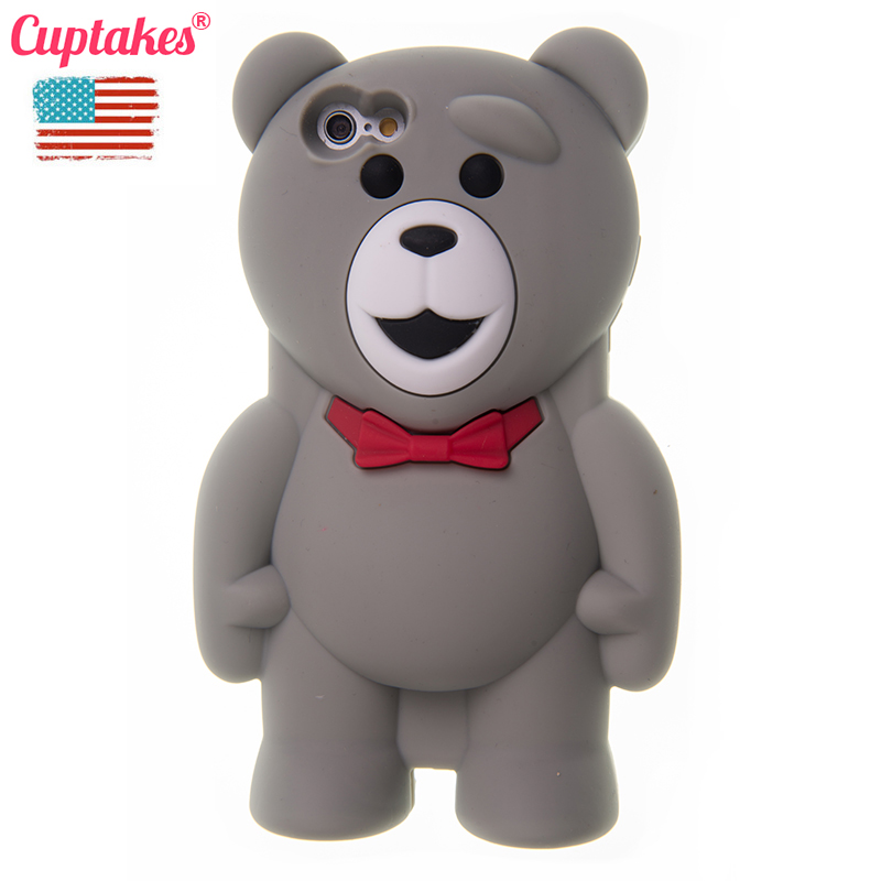 Cuptakes Mr Teddy Bear Soft Silicone Case for iPhone 6 Plus 5.5 Cover Rubber Phone Cases Cute Coque film Brand housing Gold