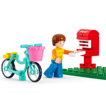 SLUBAN 0516 29Pcs Girl Friends Bicycle Send A Letter Model Building Block Toys Classic Figure Gift For Children Compatible Legoe