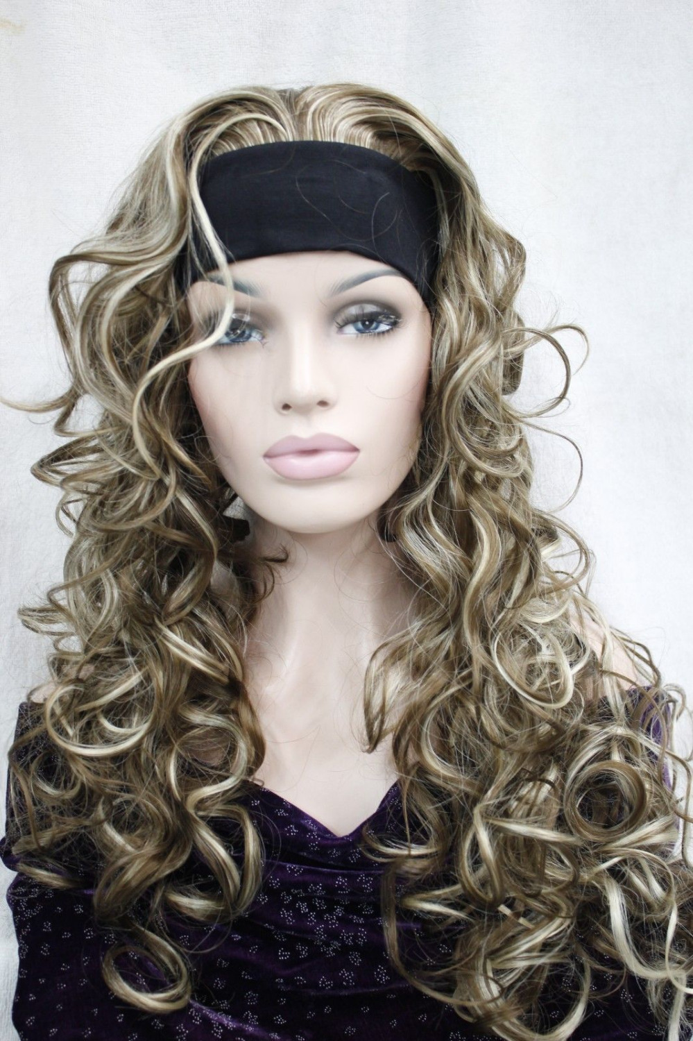 Xiuli 0002643 Cute 34 Wig With Headband Light Brown With Blonde Highlight Curly Long Half Wigs On Aliexpress Alibaba Group