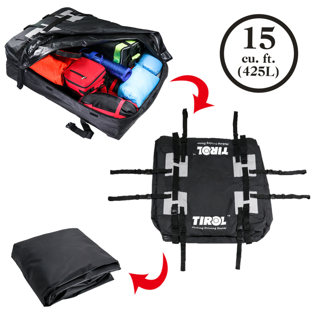 TIROL Waterproof Roof Top Carrier Cargo Luggage Travel Bag 15 Cubic Feet For Vehicles With Roof Rails T24528a Free Shipping in Roof Racks Boxes from Automobiles Motorcycles