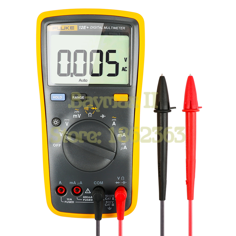 Fluke 12E+ Auto Range Digital Multimeter AC/DC Voltage Current Tester with Ohm, Capacitance, Resistance Measurement & Carry Bag цена