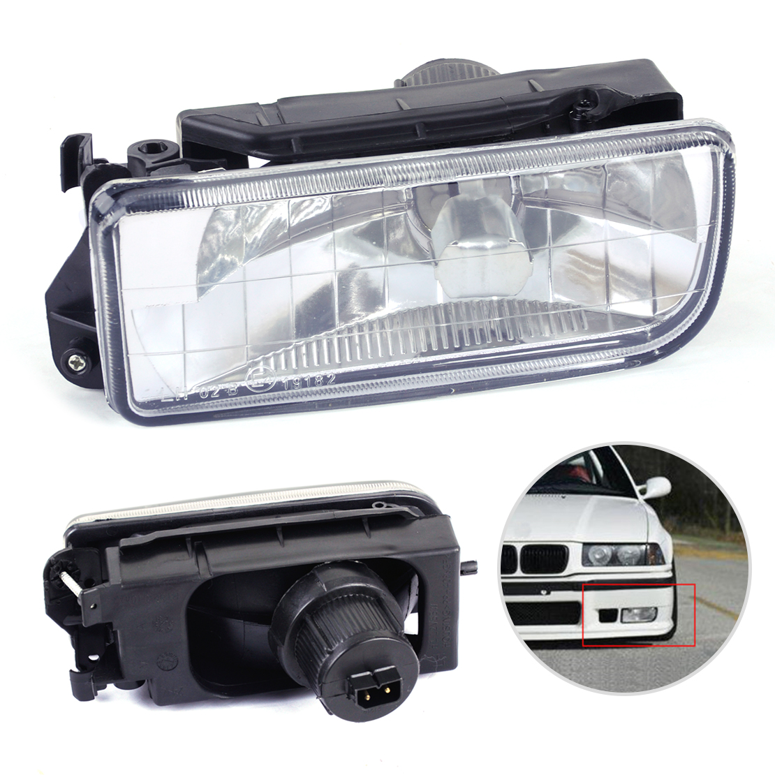 beler Left Bumper Driving Fog Light Housing Case Clear Lens 63178357389 fit for BMW E36 318i 318is 320i 323i 325i 328i M3 for bmw 3 series e36 318 328 323 325 front coilover strut camber plate top mount green drift front domlager top upper mount