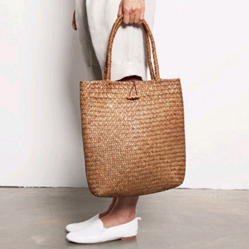Fashion Designer handmade Bags women straw rattan Handbag woven Wicker Shoulder Bag Shopping Straw Tote Bag