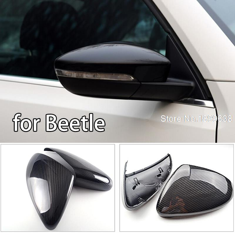 1:1 Replacement Carbon Fiber Rear View Mirror Cover car styling For Volkswagen VW Beetle 2013 2014 2015 car rear trunk security shield cargo cover for volkswagen vw tiguan 2016 2017 2018 high qualit black beige auto accessories
