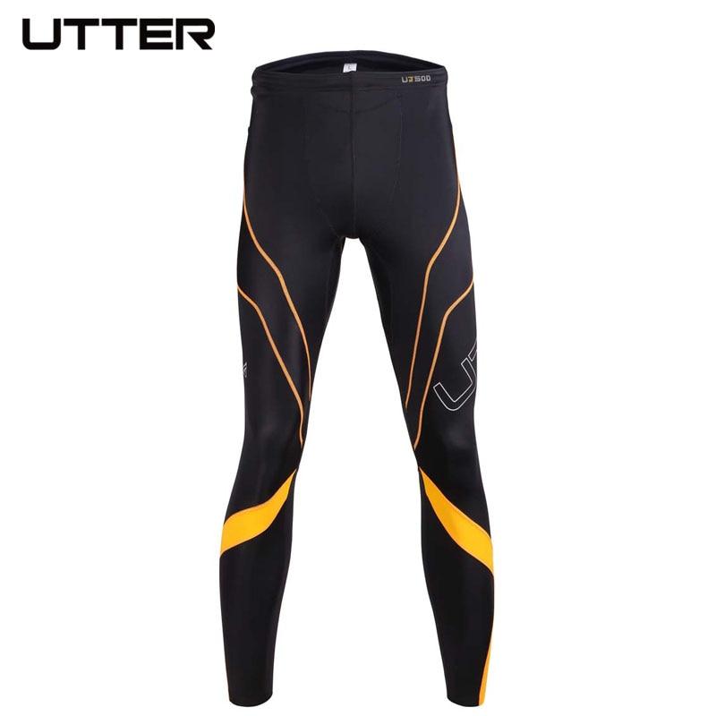 UTTER J6 Men Yellow Printing Compression Pants Sports Running Tights Bodybuilding Jogging Leggings Fitness Gym Italy CVC Fabric - 2