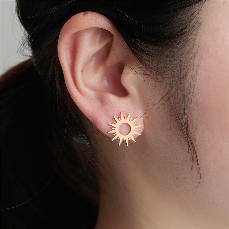 Stainless Steel Sun Stud Earring For Women Bohemia Jewelry Accessories Vintage Gold fashion Vintage Earrings Cute Gift