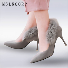 Size 34-46 Fashion Thin High Heels Rabbit Fur Party Women Pumps Pointed Toe Slip on Nightclub Office Shallow Mouth Sexy Shoes ladies fashion simple high heels pointed toe shallow mouth flock stilettos women sexy thin pumps elegant party shoes 7 colors