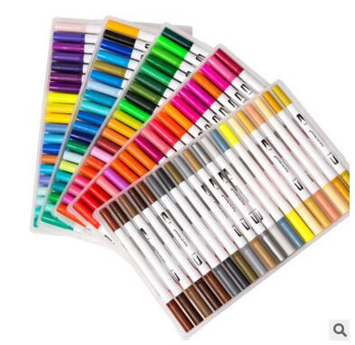 Double conseils 100 couleurs Fine pinceau marqueur stylo à base d'encre aquarelle pinceau croquis Art marqueur stylo pour Manga dessin Art fournitures