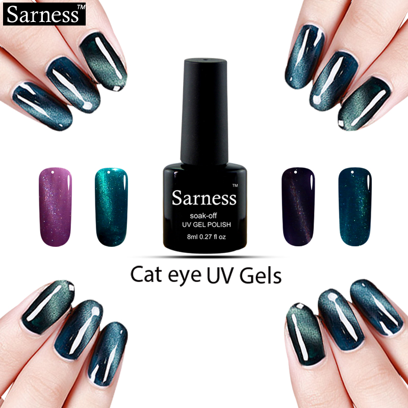 sarness 8ml 3D Cat Eye Changing Colors font b Nail b font Gel polish Soak off