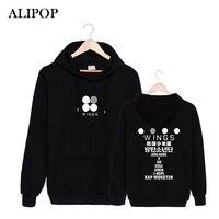 ALIPOP Kpop Koreanische Mode BTS Bangtan Boys 2th Album FLÜGEL Logo Baumwolle Pullover Mit Hut Kleidung Pullover Sweatshirt PT291