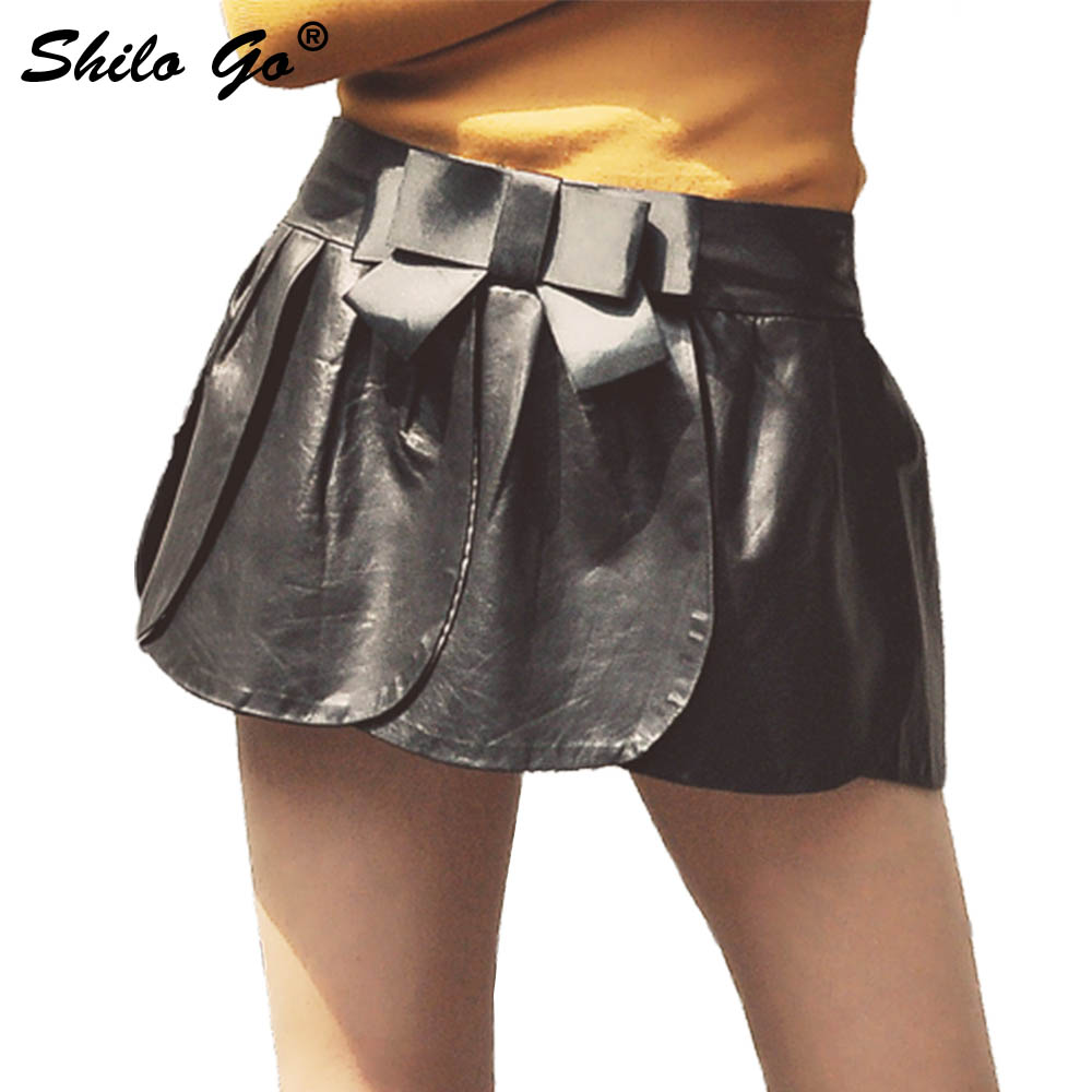 Leather Shorts Womens Spring Fashion sheepskin genuine leather Shorts cute bow belt ball down Casual shorts