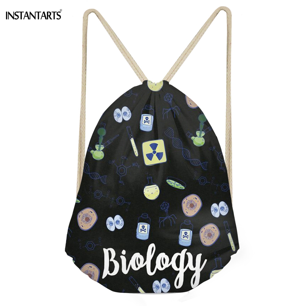 INSTANTARTS Casual Students Drawstrings Bags Funny Biology Lovers Pattern Backpacks Softback Large Teen Girls Sack Bags Bookbags