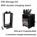 Game Tower Multifunctional Disk Storage Stand Kit with DS4 Controller Charging Stand for Playstation 4 PS4