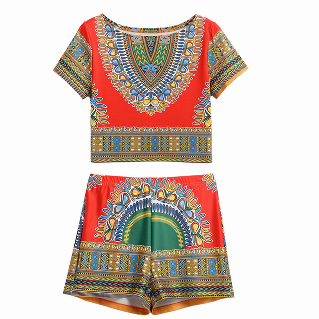27d6f92a3a1d6 Double Luck Fashion Vintage African Tribal Print Women Sets Crop Tops  T-shirt +Elastic Waist Shorts 2 Piece Set Bohemian Suits