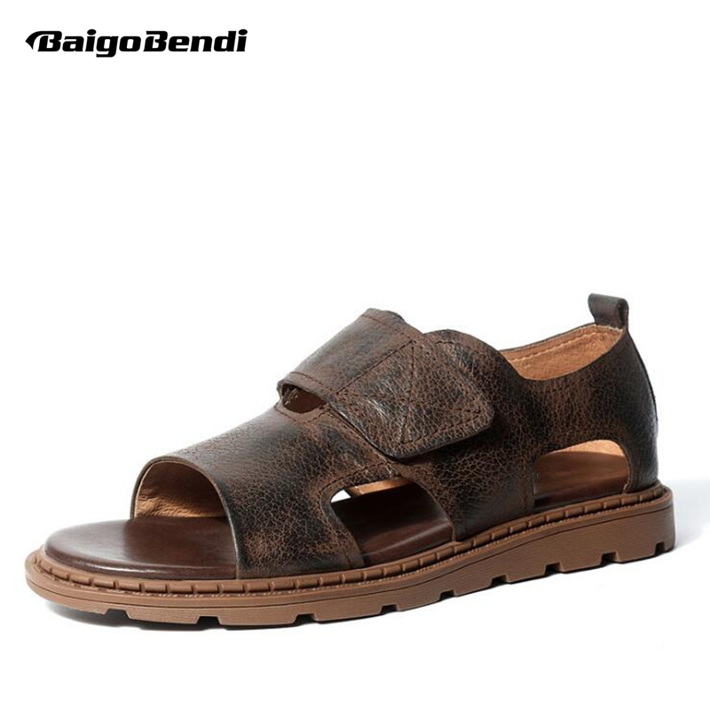 Man Leather Sandals Gladiator Ankle Strap Hook Loop Sandals Casual Business Man Summer Beach Shoes Out Door Slides in Men 39 s Sandals from Shoes
