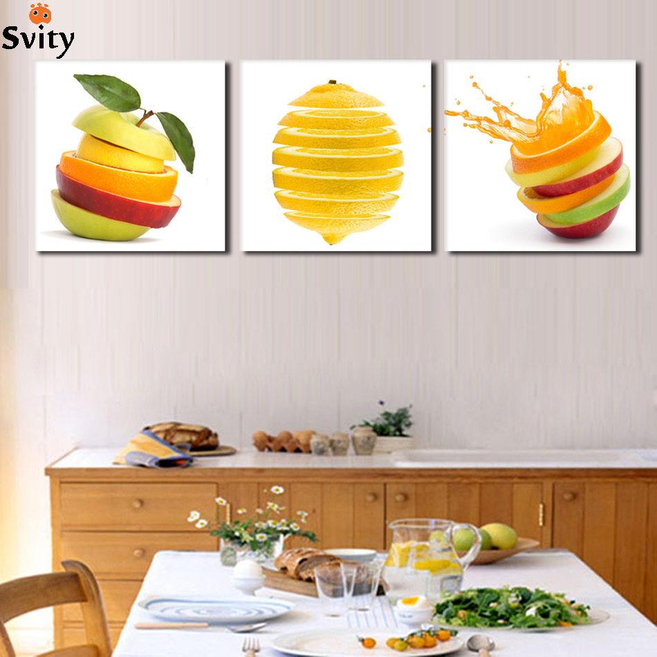 Apple Kitchen Decor Cheap: 3 Panel Modern Printed Fruits Lemon Painting Picture On