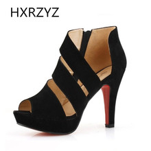 The new summer women shoes fashion sandals with thick waterproof high-heeled shoes stripe nightclub fish head 35-39