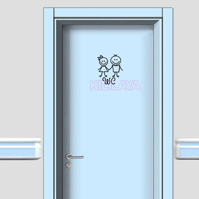 Гуманоид кукла WC СТИКЕР знак на туалетную дверь настенные наклейки Искусство виниловая наклейка на стену мультяшный плакат на стену обои домашний декор