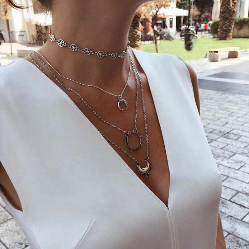 KMVEXO Vintage Silver Stars Chokers Necklaces Fashion Multi Layer Moon Pendant Necklace Statement Bohemian Jewelry for Women