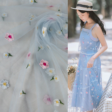 1Yard Blue Embroidered Lace Fabric Tulle African Wedding Dress Trimmings Sewing Material For Summer Girls DIY Crafts